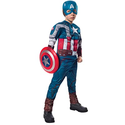 Rubies Marvel Comics Collection: Captain America: The Winter Soldier Deluxe Retro Suit Captain America Costume, Child Large: Toys & Games