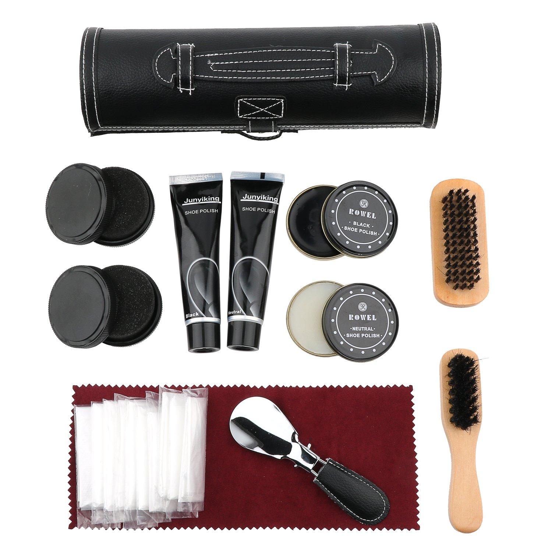 Shoe Shine Care Set,Portable Shoe Polish Oil Shoe Wooden Brushes Leather Cylinder Box Travel Kit (1#Shoe Care Kit)