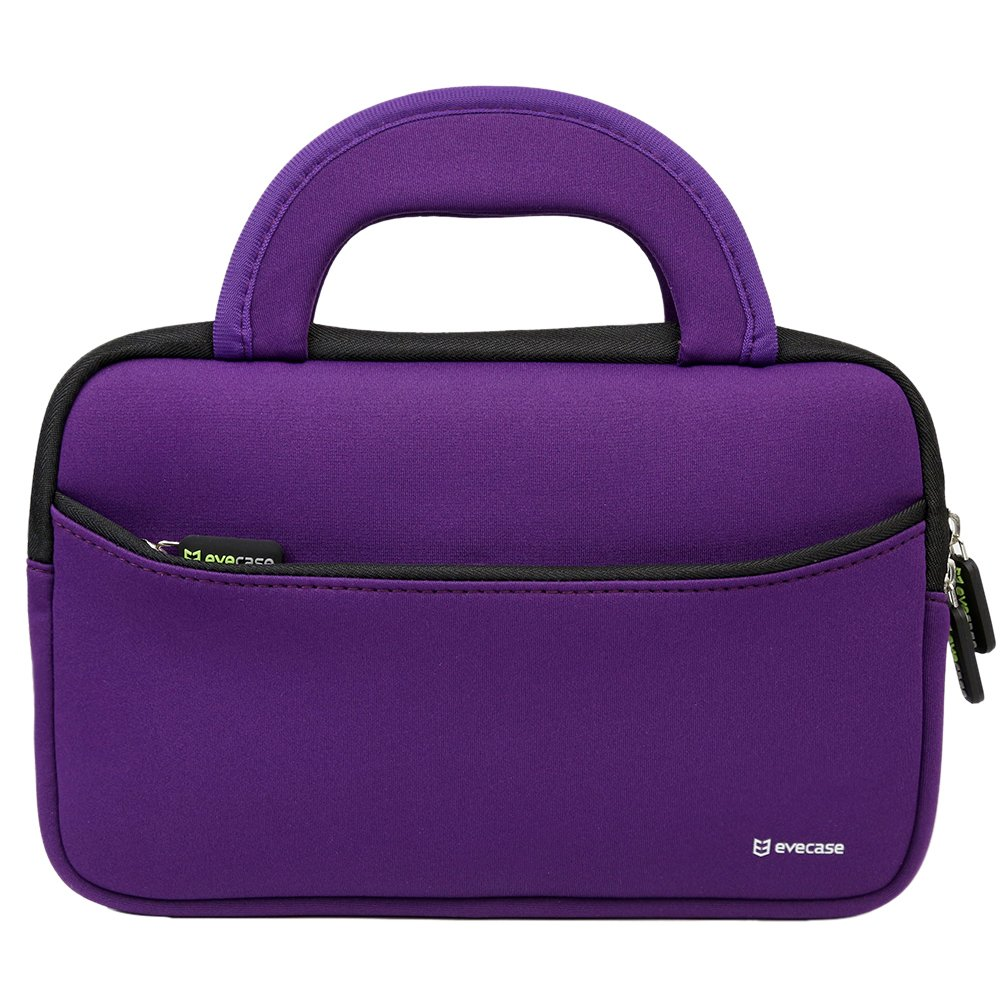 11.6 - 12.2 inch Laptop Tablet Sleeve, Evecase Ultra Portable Neoprene Zipper Carrying Case Bag with Accessory Pocket and Handle For Macbook Notebook Chromebook Ultrabook - Purple / Black Trim