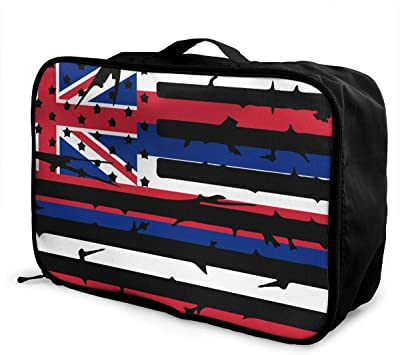 Hawaii State American Flag Overnight Carry On Luggage Waterproof Fashion Travel Bag Lightweight Suitcases