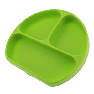 7Penn Silicone Baby Plates with Suction Base 1pk - Divided Food Tray Toddler Plate Kids Weaning Self Feeding in Green