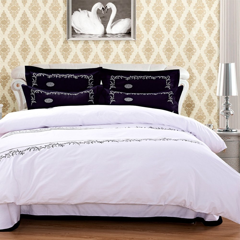 Hotel Embroidery Bedding Sets - Pure Cotton Patch Design Reactive Printing Healthy Home Textiles Queen Duvet Cover Set