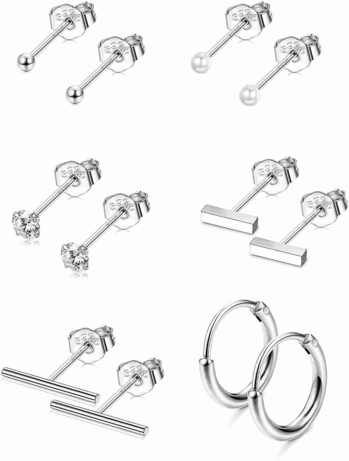 Sllaiss 925 Sterling Silver Assorted Multiple Tiny Stud Earrings for Women Men Round Ball CZ Stud Earrings Bar Pearl Small Hoop Earrings Set Hypoallergenic Piercing 6 Pairs