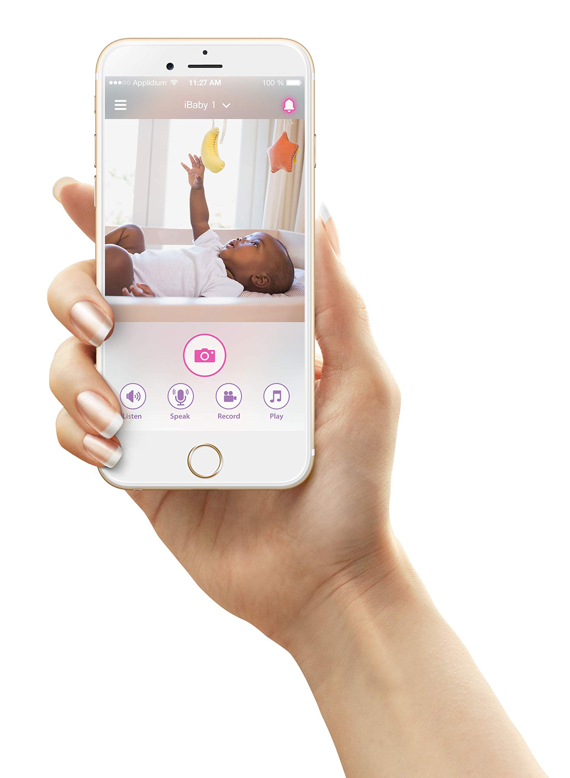 iBaby Wifi Baby Monitor M7 Lite, Smart Baby Care System 1080p Video Camera with Wi-Fi Speakers, Thousands of Lullabies & Bed Stories, Growing Timeline, Motion & Sound Alerts for Android and iOS by iBaby (Image #5)