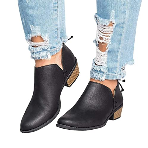 3e83b92c9b45 Chelsea Boots Women Flat Heeled Block Heel Suede Ankle Leather Winter Lace  Ladies Casual Comfortable Chunky