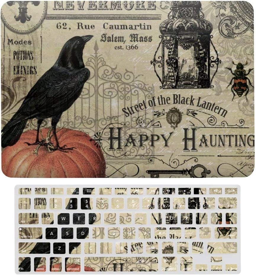 MacBook Air 13 Inch Case(A1369 & A1466, Older Version 2010 2017 Release), Plastic Hard Protective Laptop Case Shell with Keyboard Cover, Modern Vintage Halloween Pumpkin and Crow