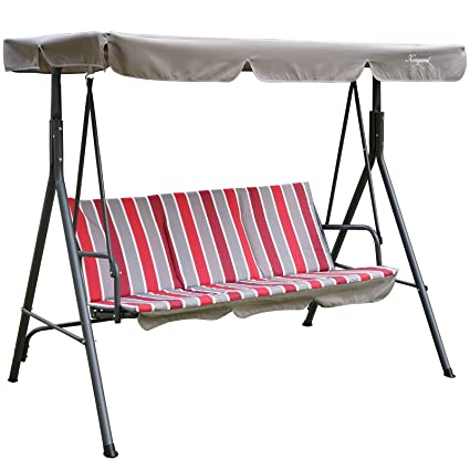 Amazon.com  Kozyard Alicia Patio Swing Chair with 3 Comfortable Cushion Seats and Strong Weather Resistant Powder Coated Steel Frame (Red Stripe)  Garden ...  sc 1 st  Amazon.com & Amazon.com : Kozyard Alicia Patio Swing Chair with 3 Comfortable ...