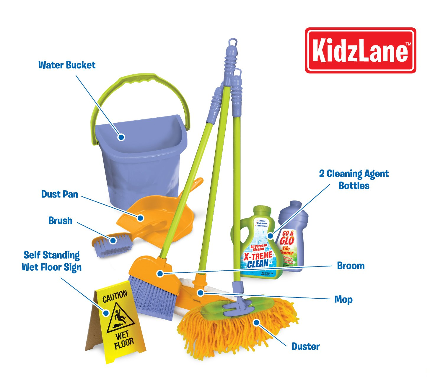 Amazon com  Kidzlane Kids Cleaning Set for Toddlers Up to Age 4  Includes 6  Cleaning Toys   Housekeeping Accessories  Hours of Fun   Pretend Play. Amazon com  Kidzlane Kids Cleaning Set for Toddlers Up to Age 4