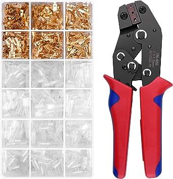 Alicates de terminales Crimpadora de Alambre kit con 600PCS Conectores de pala, Conectores de pala Crimpadora con trinquete automático autoajustable de AWG26-16 (0.5-1.5mm²): Amazon.es: Bricolaje y herramientas