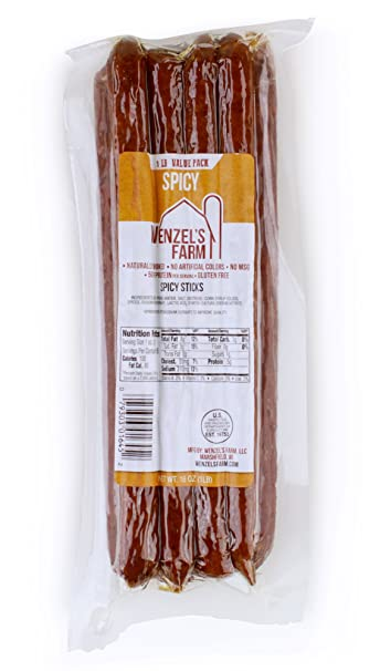 Wenzel's Farm Spicy Snack Sticks - Gluten Free - No MSG - (1 LB Package)