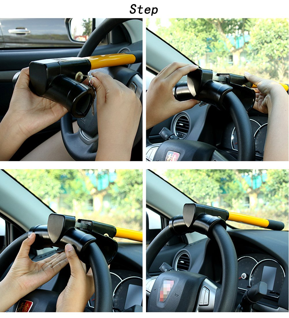Yellow Vzer Universal Security Anti Theft Retractable Heavy Duty Car Steering Wheel Lock with 2 Keys