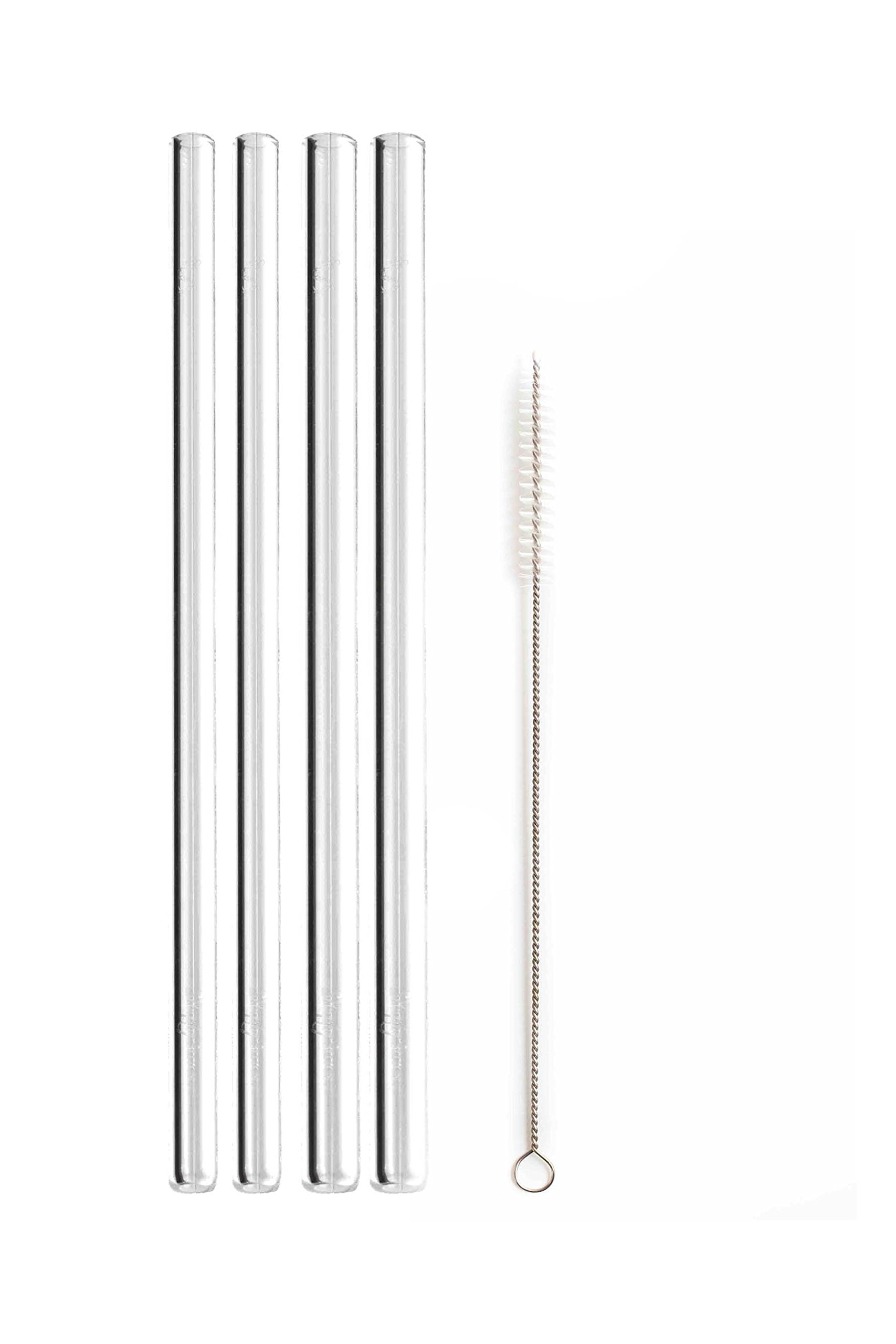 Simply Straws Straight 2 Classic & 2 Wide 8''+ Brush (Clear)