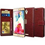 Febelo Premium Quality PU Leather Magnetic Lock Wallet flip cover Case for Coolpad Mega 2.5D - Brown Color