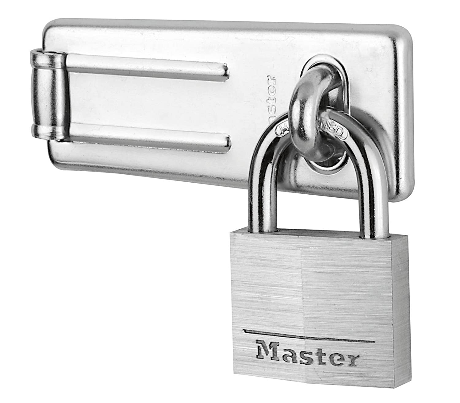Master Lock Hasp Lock, Chrome Plated Steel Hasp, Best Used as a Gate Lock, Shed Lock, Cabinet Lock and More 9140703EURD