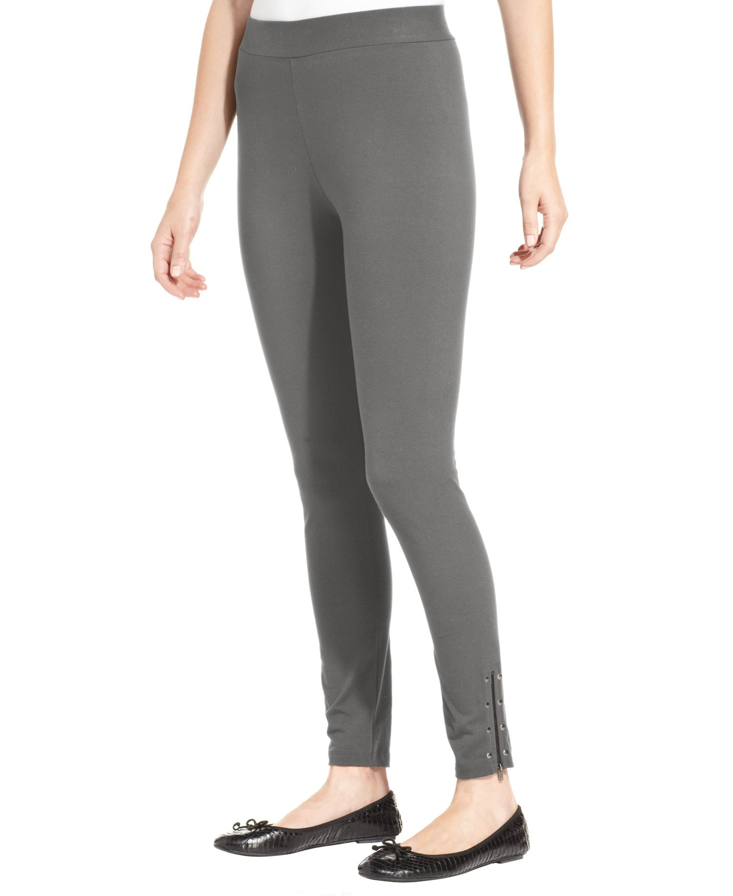 Style & Co. Womens Studded Zippered-Hem Leggings Gray XL