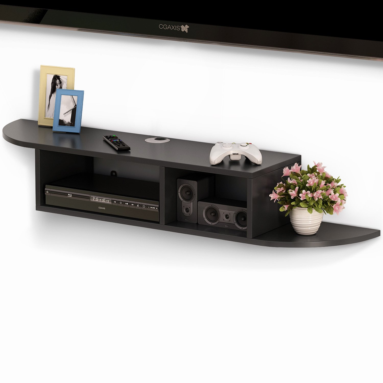 Tribesigns 2 Tier Modern Wall Mount Floating Shelf TV Console 43.3x9.4x7 inch for Cable Boxes/Routers/ Remotes/DVD Players/Game Consoles (black)