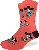 Good Luck Sock Men's Mariachi Skeleton Crew Socks - Orange, Adult Shoe Size 7-12