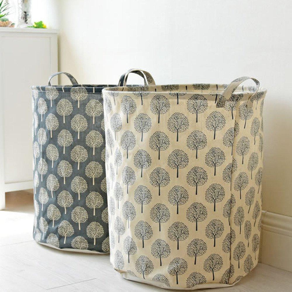 Cesta de lavandería redonda, Algodón lino impermeable PE revestimiento cesta almacenamiento Miscelánea caja de almacenamiento LMMVP (B, 45*35CM): Amazon.es: ...