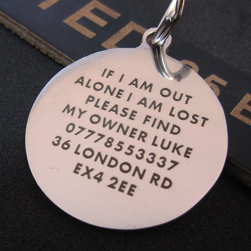 Premium Engraved Personalised Pet Dog Cat Puppy Name ID Bone Round Tag Collar paddingpaws