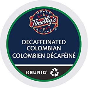 Timothy's World Coffee DECAF Colombian 4 Boxes of 24 K-Cups for Keurig Brewers (Packaging May Vary)