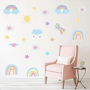 RainbowWallDecalsRainbowSunCloudStarHeartWallStickersforBedroomNurseryRoomGirlRoomDecorations,9DifferentPatterns(10Sheets)