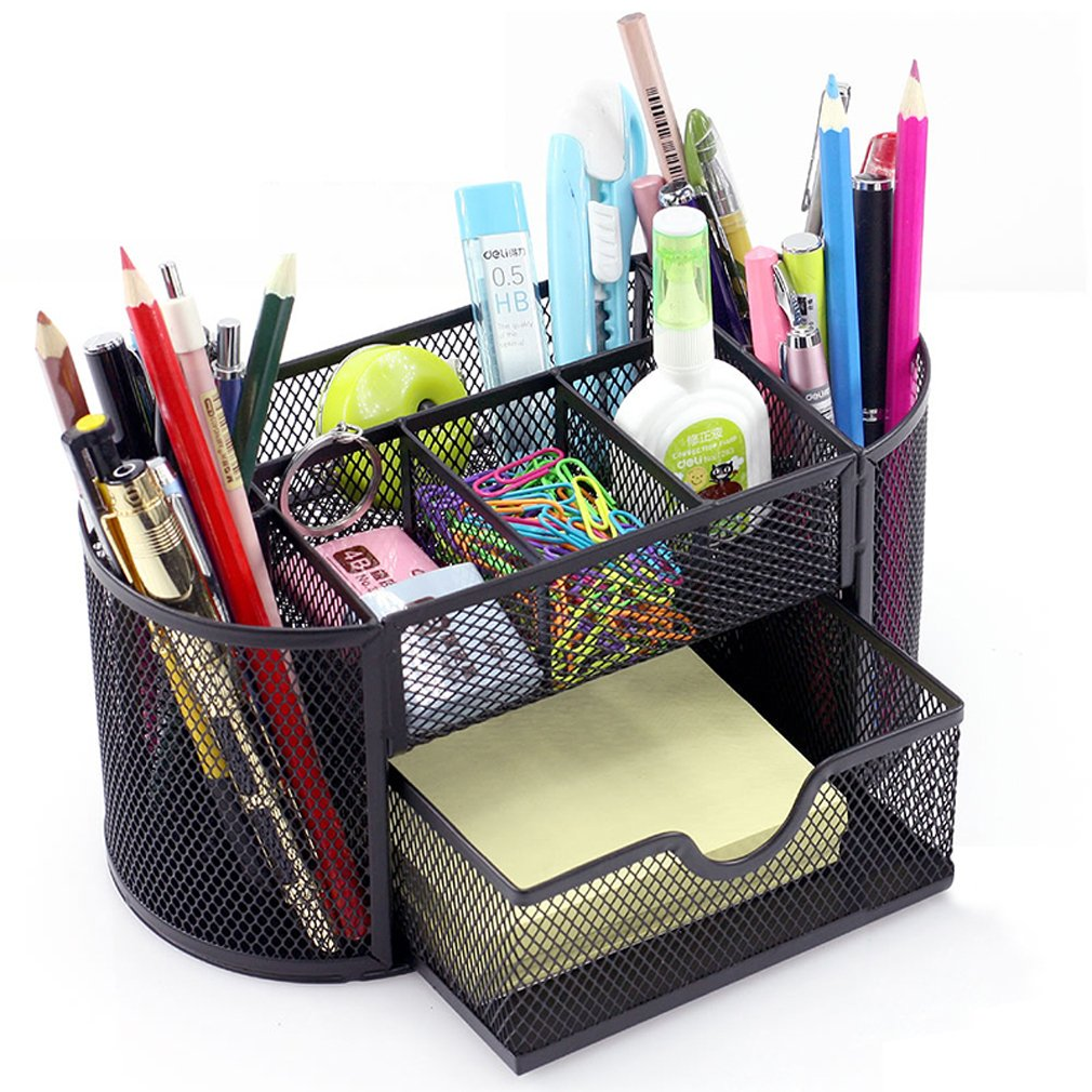 MONBLA Desk Supplies Organizer Multi-Functional Stationery Caddy Mesh Oval Pencil Holder Desk Office Supplies Organizer 9 Compartments with Drawer for Note Pads Black
