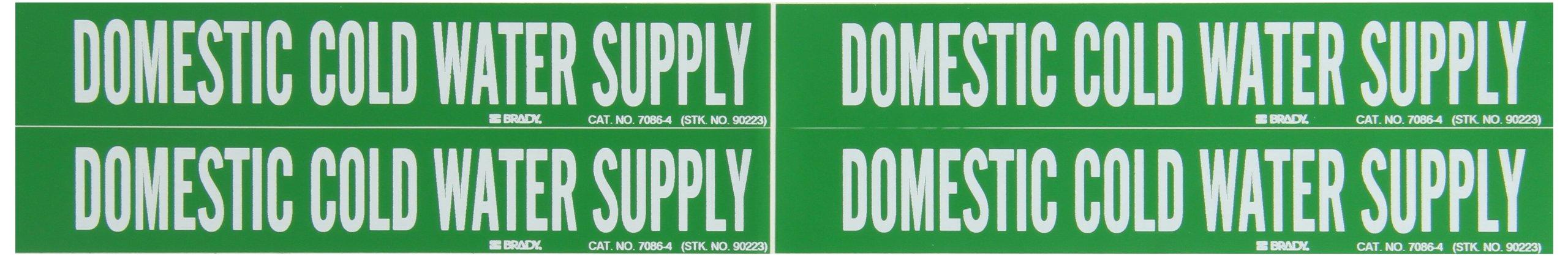 Brady 7086-4 Self-Sticking Vinyl Pipe Marker, B-946, 1 1/8'' Height X 7'' Width, White On Green Pressure Sensitive Vinyl, Legend ''Domestic Cold Water Supply''