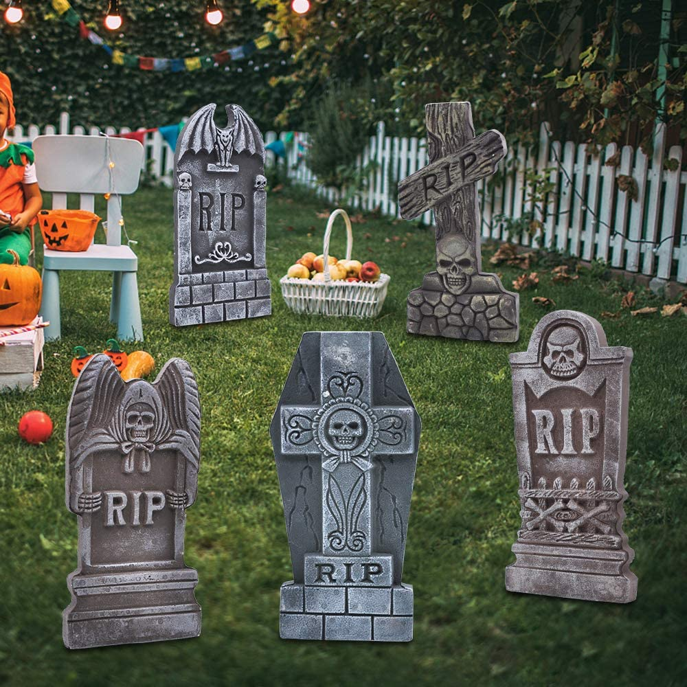 "JOYIN 17"" Halloween Foam RIP Graveyard Tombstones (5 Pack), Headstone Decorations and 12 Bonus Metal Stakes for Halloween Yard Decorations: Toys & Games"