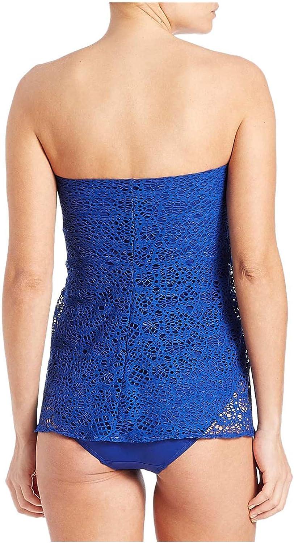 6 Ralph Lauren Lauren Womens Crocheted Strapless Flyaway One-Piece Swimsuit Ocean