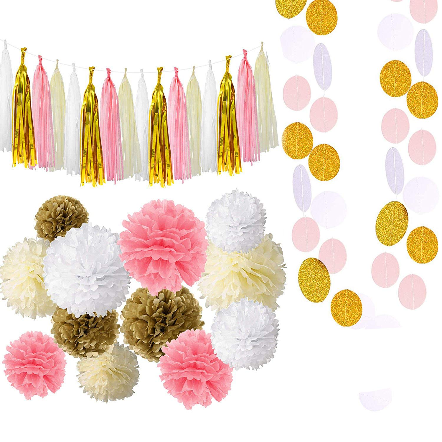 LANIAKEA 35pcs White Pink Gold Cream Tissue Pom Poms Flowers, Glitter Paper Tassels, Round Paper String, Paper Garland Decor Kit for Wedding, Birthday Celebration, Table and Wall Decoration SilkRoad Direct
