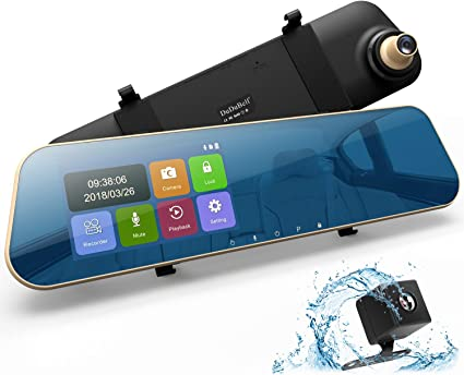 "TOGUARD Mirror Dash Cam 4.3/"" Touch Screen 1080P Dual Lens DVR Car Backup Camera"