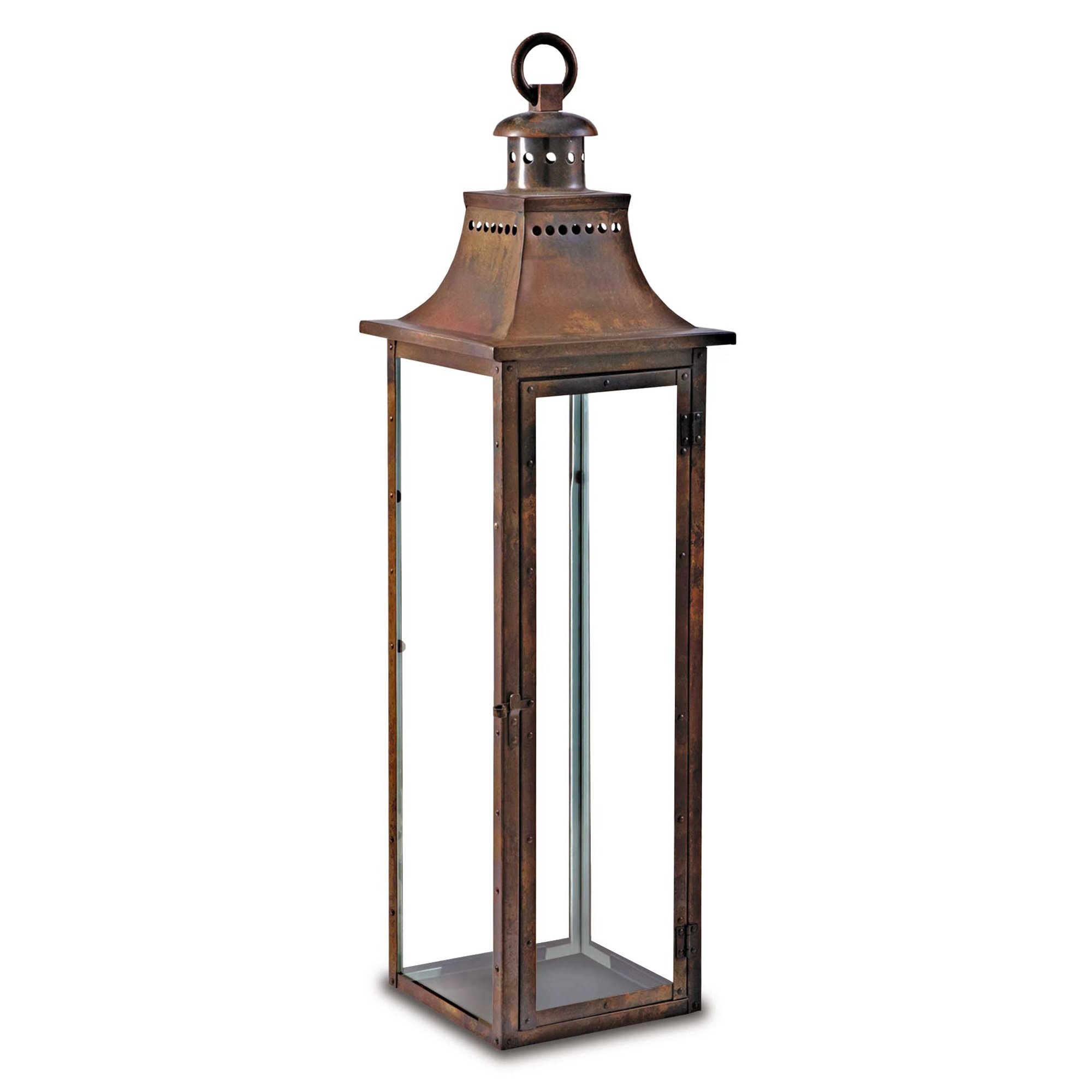 Pilgrim Home and Hearth 17537 Hampton Tall Candle Lantern, Distressed Copper / Stainless Steel, 9 x 36''