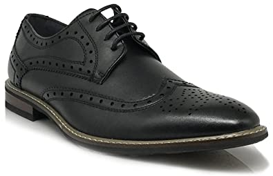 Conrad2 New Men's Classic Italy Modern Oxford Wingtip Lace Up Dress Shoes Sz 8.5