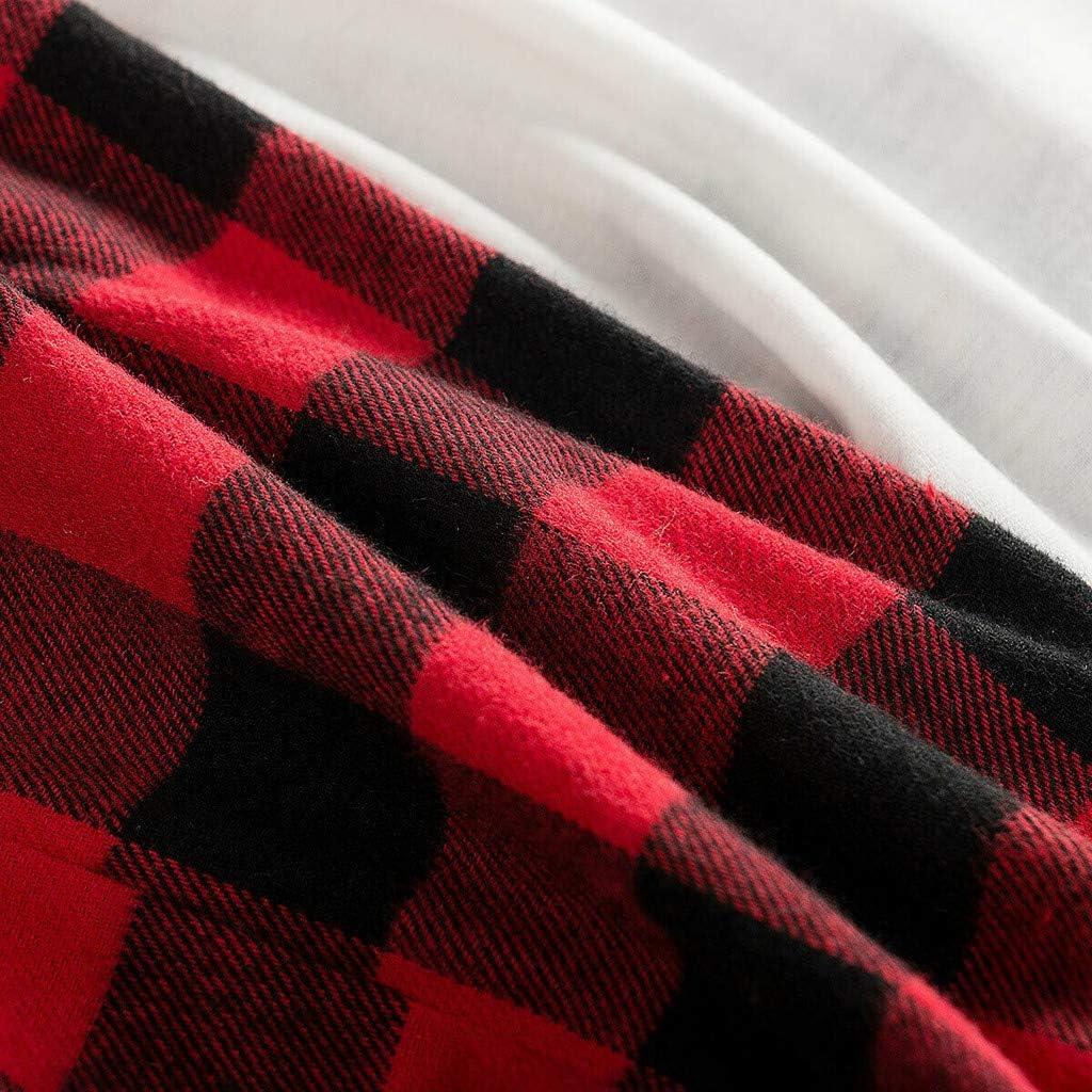 3M-3Y Maglietta con Stampa A Quadri Manica Lunga per Albero di Natale Bambini Pantaloni Leopardo Set Due Pezzi Buon Pagliaccetto Caldo Cappotto GNYD