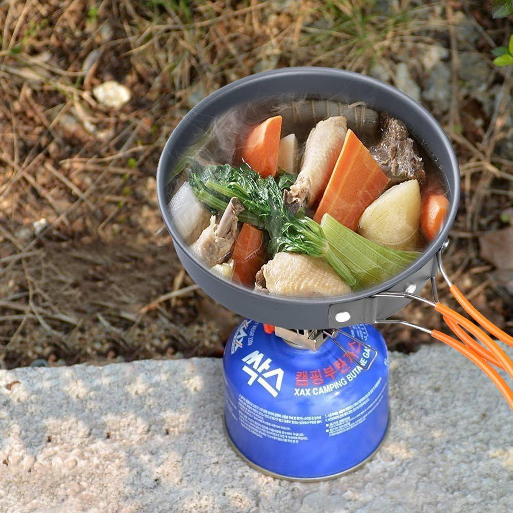 Juego de utensilios de cocina para camping, ollas y sartenes para camping, kit de 9 piezas, equipo de mochila y senderismo, juego de cuencos, cuchara ...