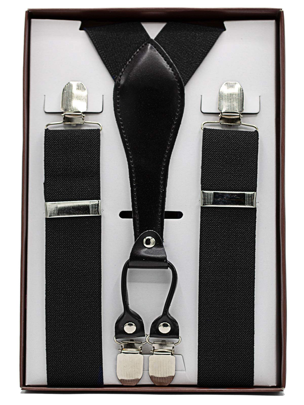 Rigma Mens Suspenders - Suspenders For Men - Adjustable Solid Straight Clip (Black)