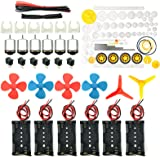 EUDAX 6 set Rectangular Mini Electric 1.5-3V 24000RPM DC Motor with 84 Pcs Plastic Gears,Electronic wire, 2 x AA Battery…