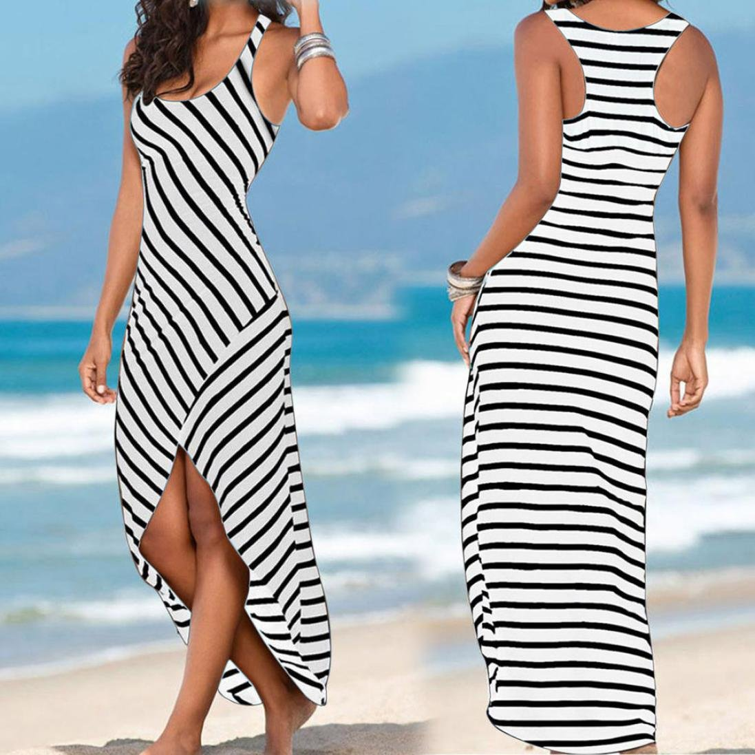 1b45080b70 Black Striped Dress for Women Maxi Beach Sleeveless Racerback Sundress  Boatneck  1540905635-100815  -  5.67