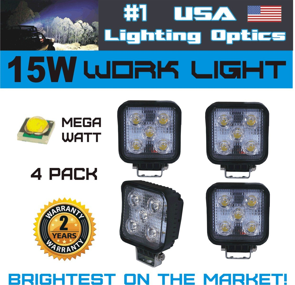 1 15w square led work light lamp by usa lighting optics 4 pack off road high power atv jeep wrangler 4x4 rv trailer boat tractor truck excavator fork