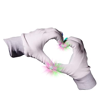 2 Pieces - LED Rave Gloves - Flashing Light Up Gloves with Finger Lights - White: Toys & Games