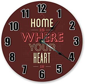 8Jo6Poe 12 inch Great Home is Where Your Heart is Clock Motivational Clock Living Room Clock Large 12 inch Wall Clock Home Decor Clock 3536