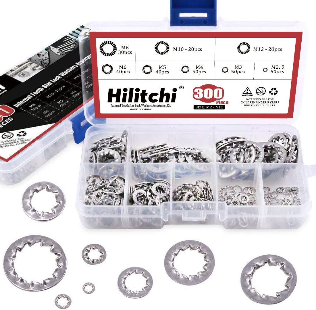 300-Pcs 8-Size 304 Stainless Steel Internal Tooth Star Lock Washers Assortment