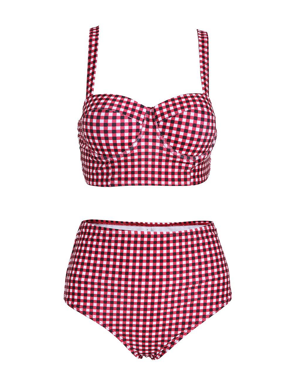NAFLEAP Women Retro High Waisted Push up Bikini with Polka Dot, Red, Medium