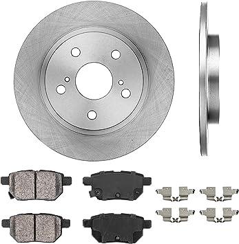 Rotors w//Ceramic Pads OE Brakes 2010-2015 Fit Toyota Corolla Prius Rear