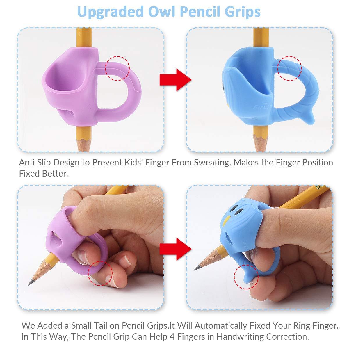 Agarrador de Lápiz, Firesara originales Búho Pencil Grip para para niños Escritura Ergonómico 3 juegos de dedos para la corrección de la postura de ...