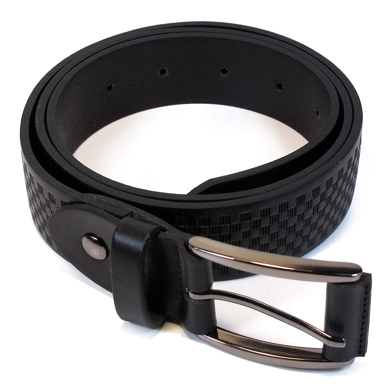 Mens Real Genuine Leather Belt Black Brown White 1.25 Wide S-XL Casual Jeans AM0