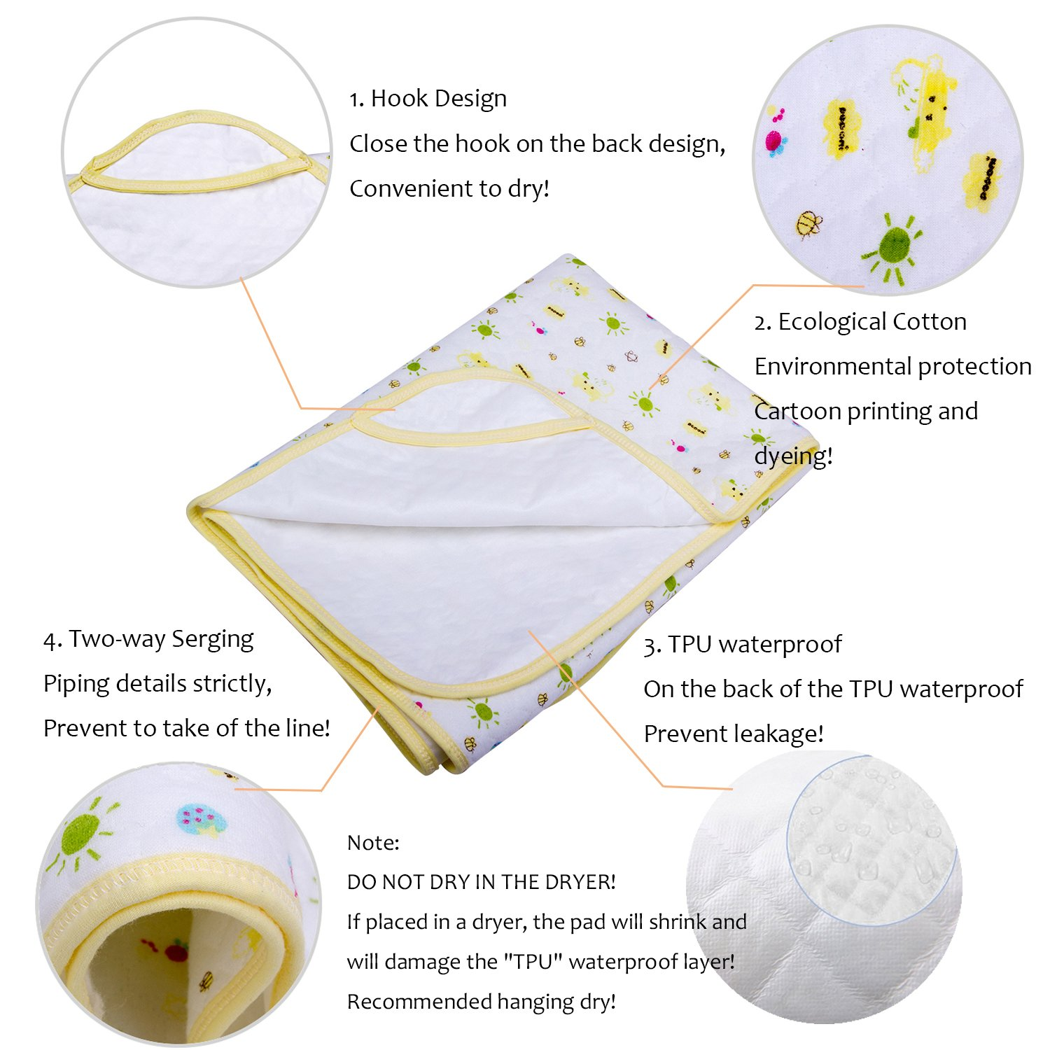Baby Kid Waterproof Changing Pads - Breathable Mattress Pad Diapering Sheet Protector Menstrual Pads Pack of 3 (L (27.5 x 41.3 Inch)) by MBJERRY (Image #2)