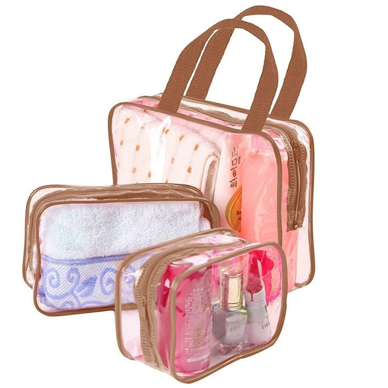 ROHANS 3PC PVC Toiletry Transparent Waterproof Pouch Cosmetic Wash Travel Set Bath Black Pink Blue Brown