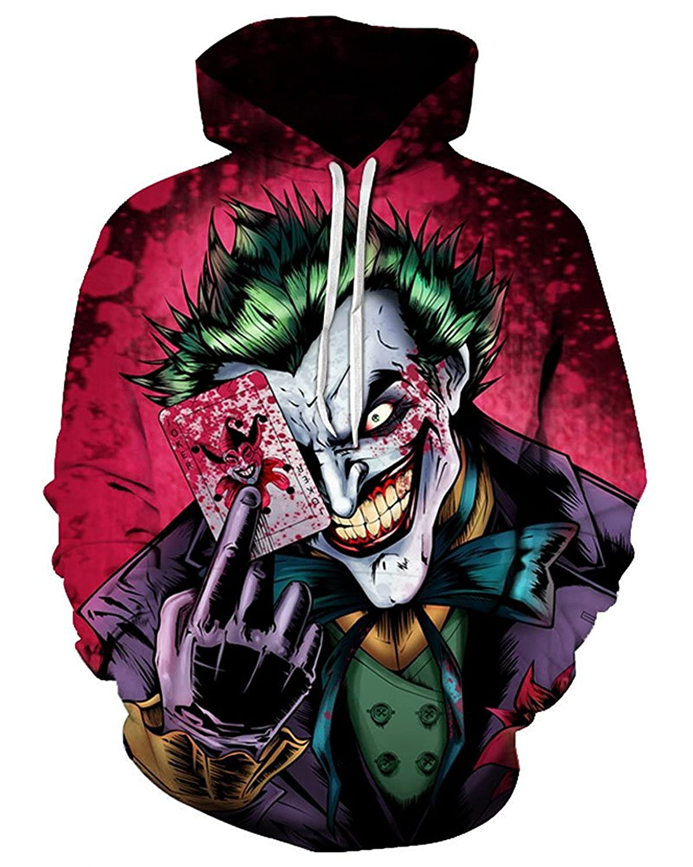 Chic 3D Sweatshirt Unisex Hipster Joker Poker Printed Funny Hoodies Tops Shirt