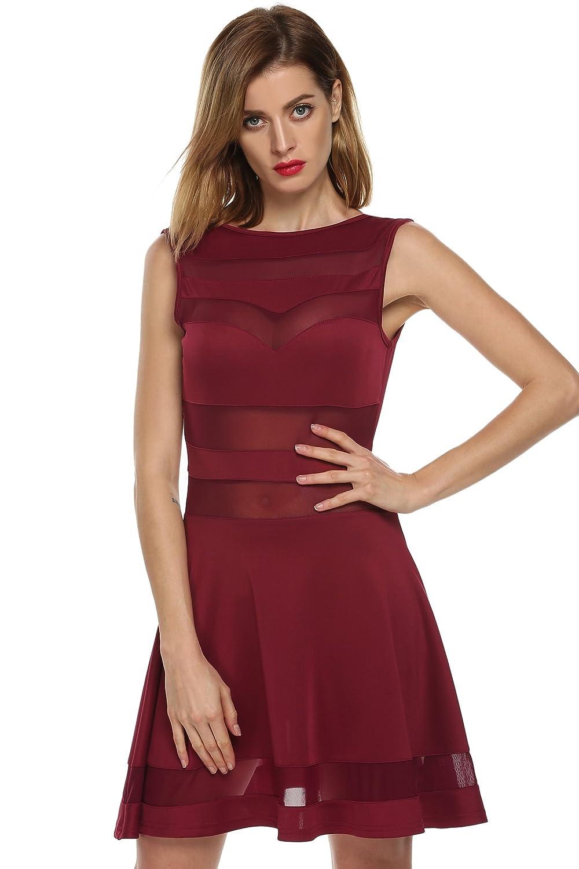 CRAVOG Sommerkleid Sexy ärmellos Partykleid elegant Kleider 3Farben ...